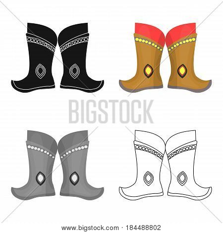 Military boots of the Mongols.part of the national dress of Mongolia.Mongolia single icon in cartoon style vector symbol stock web illustration.