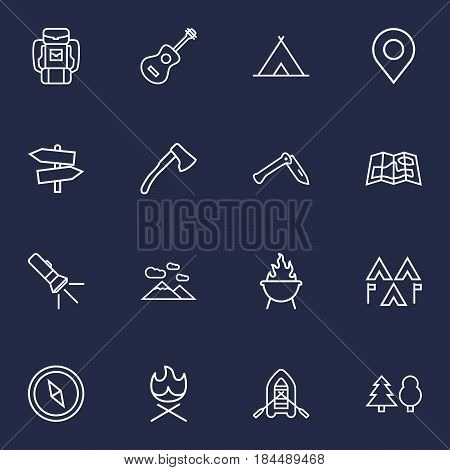 Set Of 16 Outdoor Outline Icons Set.Collection Of Guidepost, Compass, Bonfire And Other Elements.