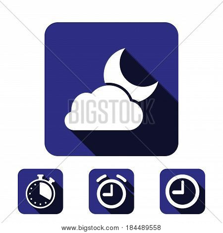 moon and cloud icon stock vector illustration flat design