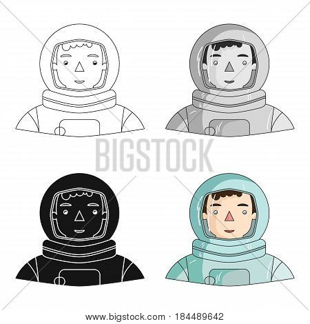 Astronaut icon in cartoon style isolated on white background. People of different profession symbol vector illustration.