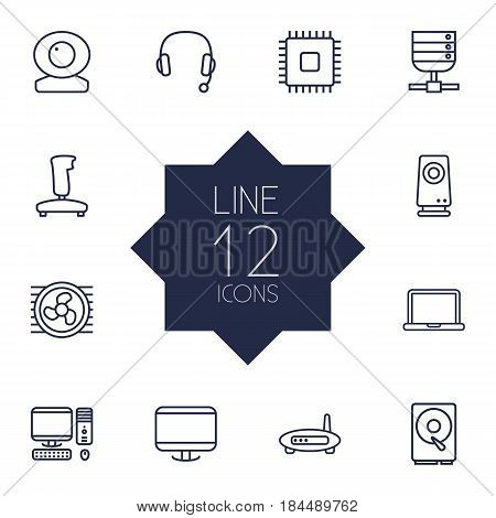 Set Of 12 Laptop Outline Icons Set.Collection Of Cooler, Web Cam, PC And Other Elements.