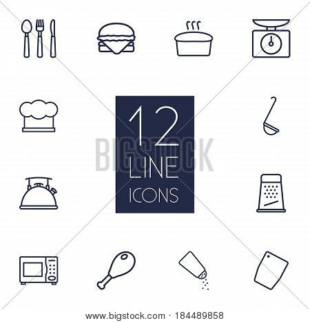 Set Of 12 Culinary Outline Icons Set.Collection Of Salt, Hat, Microwave And Other Elements.