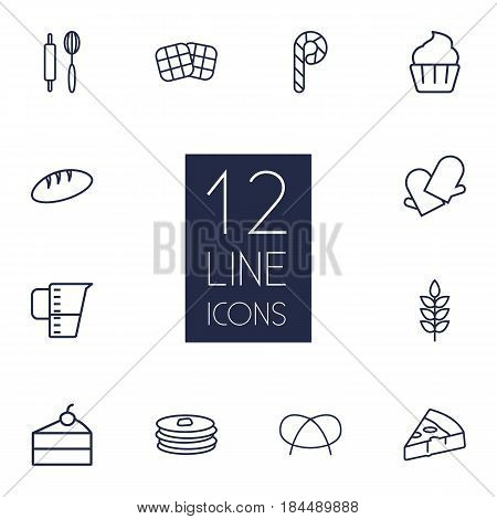 Set Of 12 Bakery Outline Icons Set.Collection Of Rolling Pin, Measuring Cup, Waffle And Other Elements.