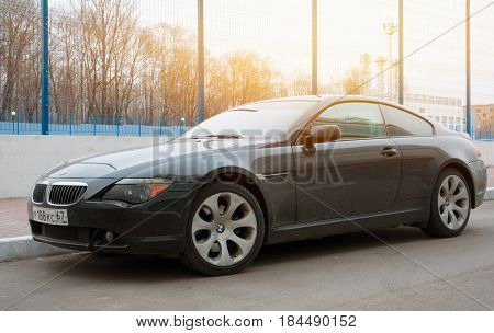 Moscow, Russia - April 25, 2017: Luxury Bmw 6-series coupe parked in suburbia of Moscow City new model of the brand BMW.