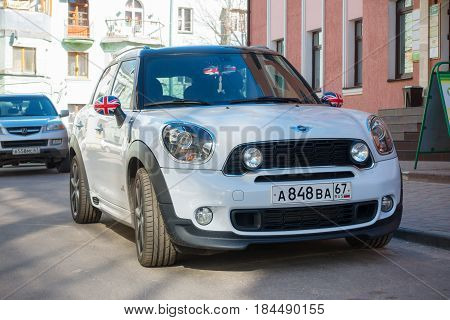 Smolensk, Russia - April 24, 2017: New Mini Cooper parked near on the street.