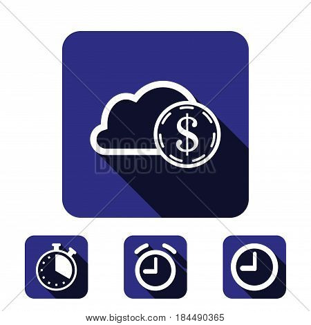 dollar money cloud  icon stock vector illustration flat design