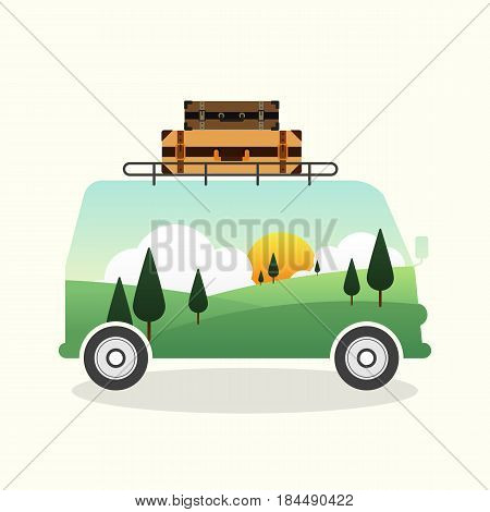 Double exposure of a van and mountain landscape travel concept flat design vector illustration
