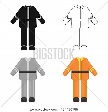 Firefighter uniform icon cartoon style. Single silhouette fire equipment icon from the big fire Department cartoon.
