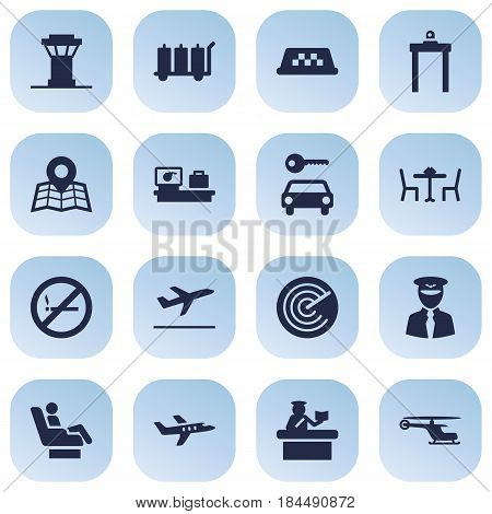 Set Of 16 Airplane Icons Set.Collection Of Air Traffic Controller, Aircraft, Location And Other Elements.