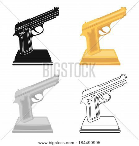Golden gun on a stand.Award for best crime film.Movie awards single icon in cartoon style vector symbol stock web illustration.