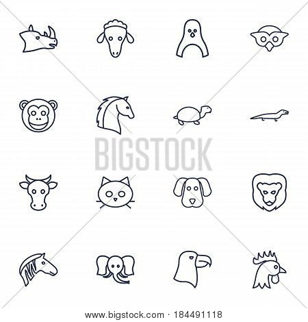 Set Of 16 Brute Outline Icons Set.Collection Of Dog, Penguin, Elephant And Other Elements.