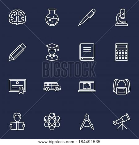 Set Of 16 Studies Outline Icons Set.Collection Of Diploma, Calculator, Telescope And Other Elements.