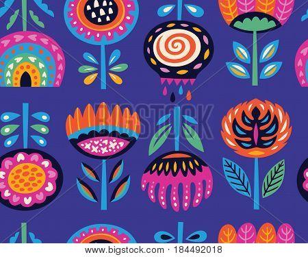 Lovely traditional folk art garden pattern. Vector illustration
