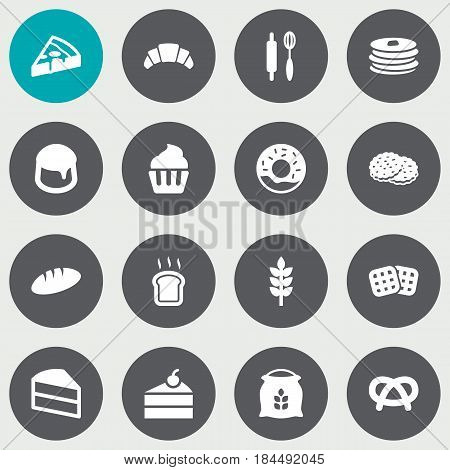 Set Of 16 Bakery Icons Set.Collection Of Pepperoni, Whisk, Crepe And Other Elements.