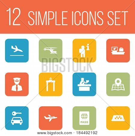Set Of 12 Land Icons Set.Collection Of Aviator, Letdown, Aircraft And Other Elements.