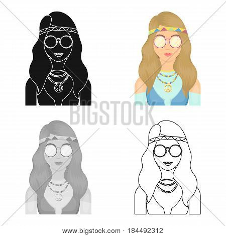 A hippie girl with glasses with beads.Hippy single icon in cartoon style vector symbol stock illustration .