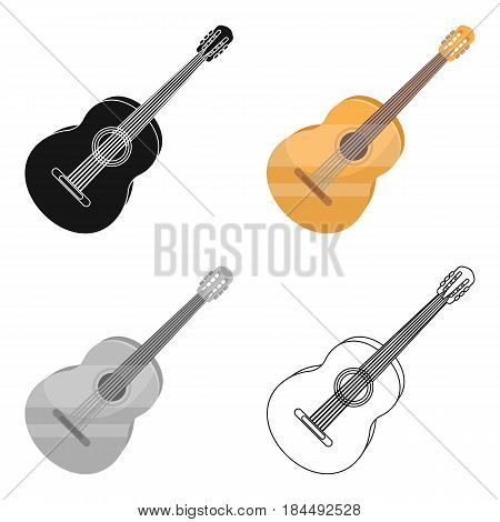 Yellow guitar.Hippy single icon in cartoon style vector symbol stock illustration .