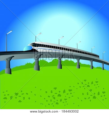 High-speed, commuter train, convenient, background vector illustration.