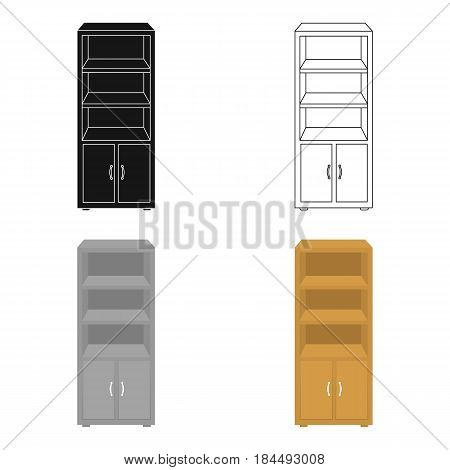 Office bookcase icon in cartoon style isolated on white background. Office furniture and interior symbol vector illustration.