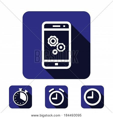 gear phone icon stock vector illustration flat design