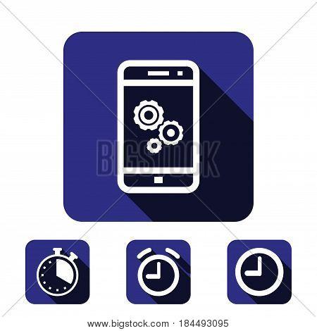gear phone icon stock vector illustration flat design