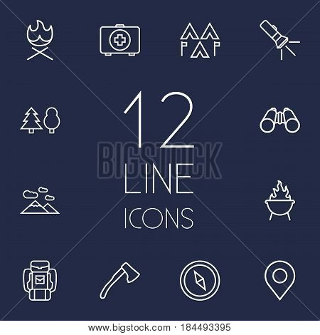 Set Of 12 Adventure Outline Icons Set.Collection Of Forest, Medical Kit, Encampment And Other Elements.