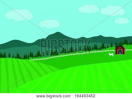 Countryside Farm Vector illustration, green, field, mountain.