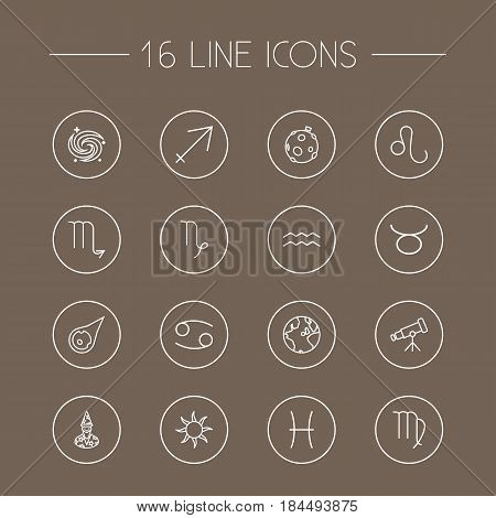 Set Of 16 Astrology Outline Icons Set.Collection Of Galaxy, Cancer, Virgo And Other Elements.