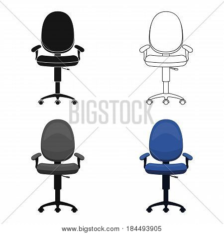 Office chair icon in cartoon style isolated on white background. Office furniture and interior symbol vector illustration.