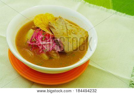 Delicious encebollado fish stew from Ecuador traditional food national dish closeup.