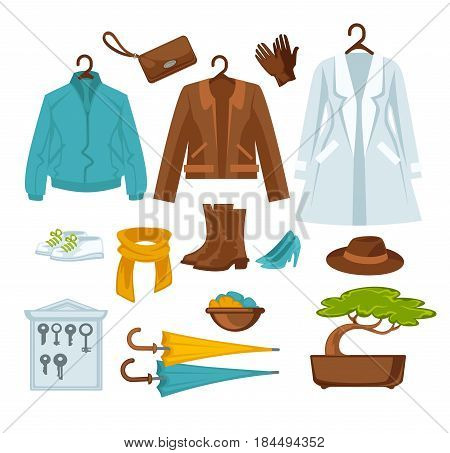Women outerwear on hangers, shoes pairs, yellow and blue umbrellas and other accessories flat poster on white. Vector colorful collection of clothes and decorations that are kept in hallway.