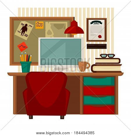 Home workplace vector colorful illustration in flat design. Picture of wooden table with pile of books and glass on top, brown cup, computer screen, red chair, ruddy lamp, board for notes and diploma