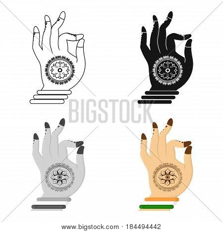 Mudra icon in cartoon style isolated on white background. India symbol vector illustration.