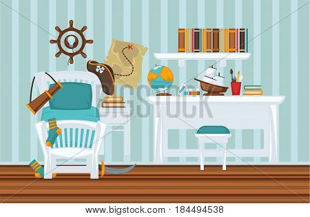 Boy's room in pirate style colorful flat illustration. Vector interior design of bedroom for male child with special hat and spyglass on bad, wooden wheel on wall, white table and studying elements
