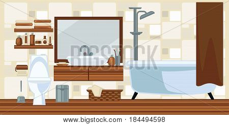 Bathroom interior colorful vector illustration in flat design. Comfortably furnished room with white bath and toilet including shower tap, shelf with mirror, litter bin, laundry basket and cosmetics