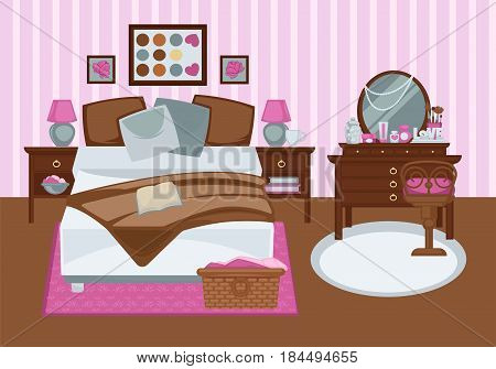 Bedroom for girl in pink colors flat illustration. Vector colorful picture of contemporary furnished room for female person with double bed, wooden dressing table with mirror, stripe rosy wallpaper