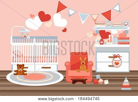 Room interior for newborn with decorative elements colorful vector picture. Illustration of playroom with white cradle, ruddy armchair, soft and plastic toys, chest of drawers with baby equipments