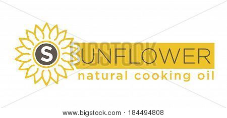 Sunflower natural cooking oil emblem of natural organic oil with yellow helianthus silhouette on white background. Logotype design of subsistence production vector illustration hand drawn symbol