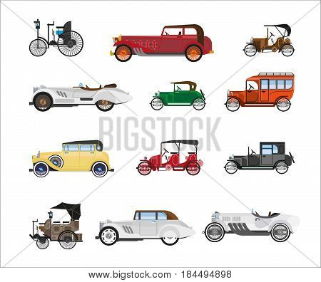 Antique vehicle colorful vector poster in flat design on white. Old speedy means of transportation of various brands, with and without roof and on wheels. Transport design in ancient time template