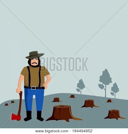 Logger man, lumberjack, background, worker, Vector illustration.