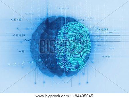Fingerprint Scanning On Brain 3D Illustration