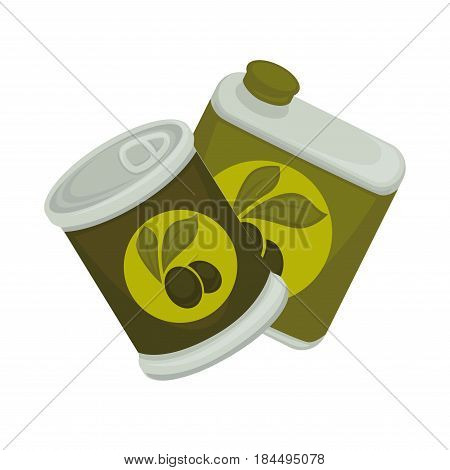 Little iron and big plastic banks with green emblem of olives isolated on white. Small jar with self-opening lid and edible symbol. Vector illustration of packaged products of olive-trees flat design.
