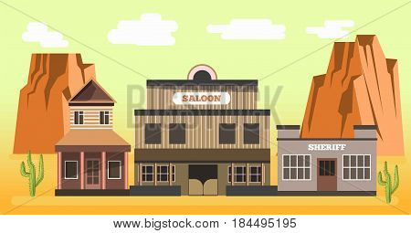 Western saloon and sheriff in sand desert with high rocks and green cactus plants colorful vector illustration in flat design. Wild west wooden public building group. Hot Texas template picture