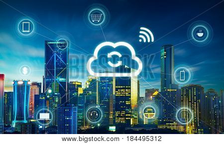 Smart city and cloud computing wireless communication network abstract image visual internet of things .