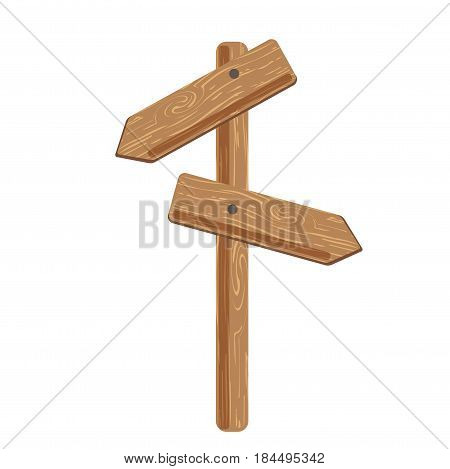 Two indexes showing in different directions attached on wooden stick on white background. Indications of right road, orientation in area. Vector illustration of wooden signs graphic icons in flat style