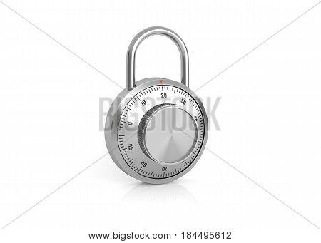 Combination lock on white background. 3D illustration