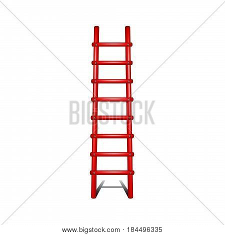 Wooden ladder in red design with shadow leading up on white background