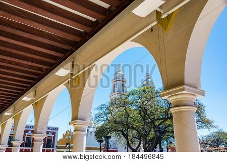 Arches And Campeche Cathedral