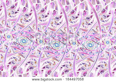 Abstract Intricate Pink And Purple Mosaic Background. Psychedelic Fractal Texture. Digital Art. 3D R