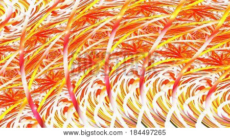 Abstract Intricate Yellow, Orange And Red Mosaic Background. Psychedelic Fractal Texture. Digital Ar